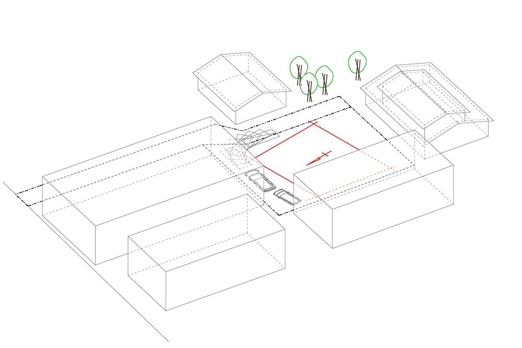 路地(法42条3項道路)の奥に建つ平屋の住宅の設計事例。ダイアグラム1:敷地の状況