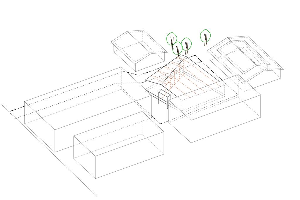 路地(法42条3項道路)の奥に建つ平屋の住宅の設計事例。ダイアグラム3:統合