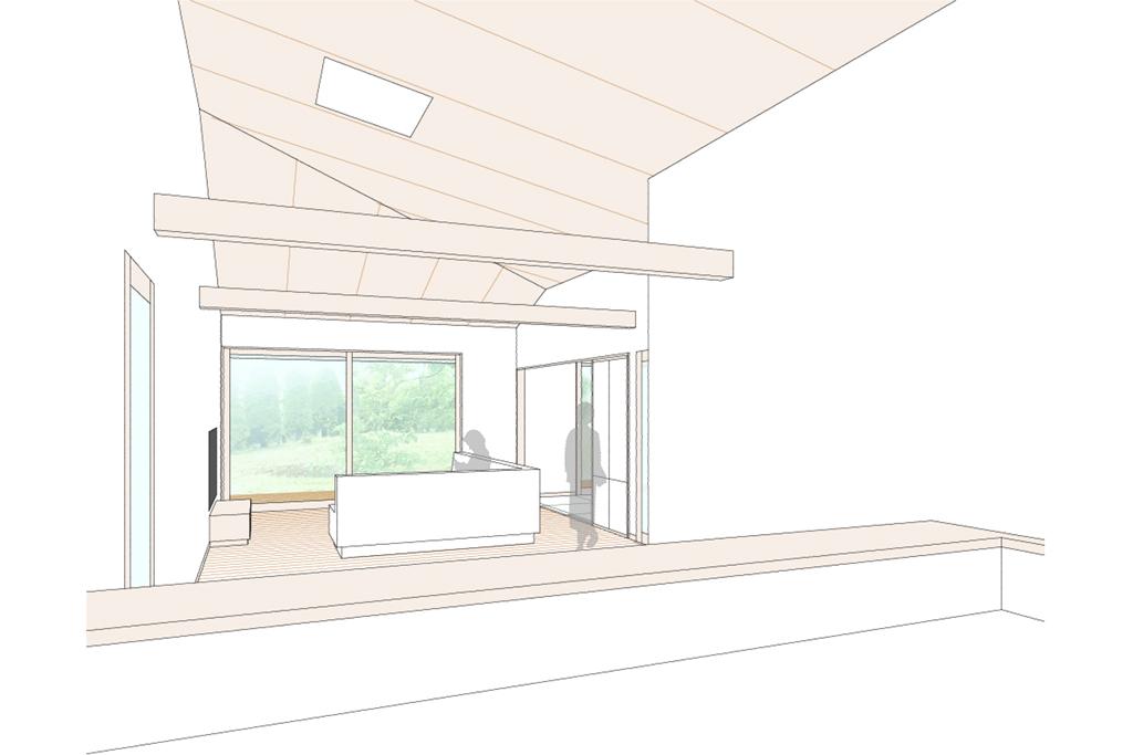 平屋の住宅の計画案 内観